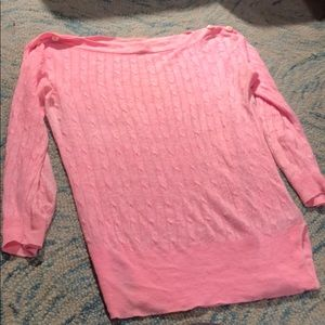 J. Crew pink light sweater linen great condition!